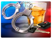 Illustration of handcuffs and alcohol